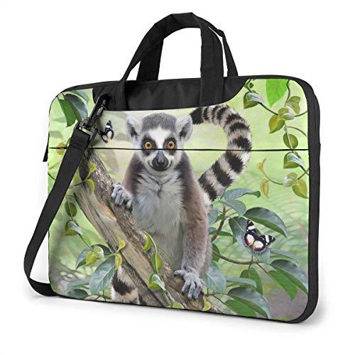 Estuche para computadora portátil Bolsa de computadora Funda de manga Árbol Lemur Maletín de hombro impermeable 13 14 15.6 pulgadas