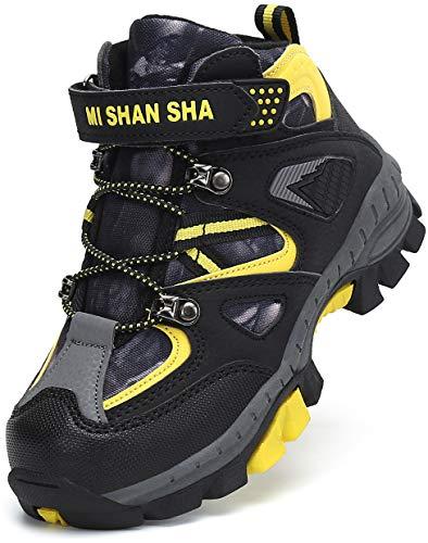 Mishansha Botas de Montaña Niña Forrado Zapatillas de Senderismo Niño Antideslizante Zapatillas Trekking Impermeable Botas Mikado Amarillo Gr.33