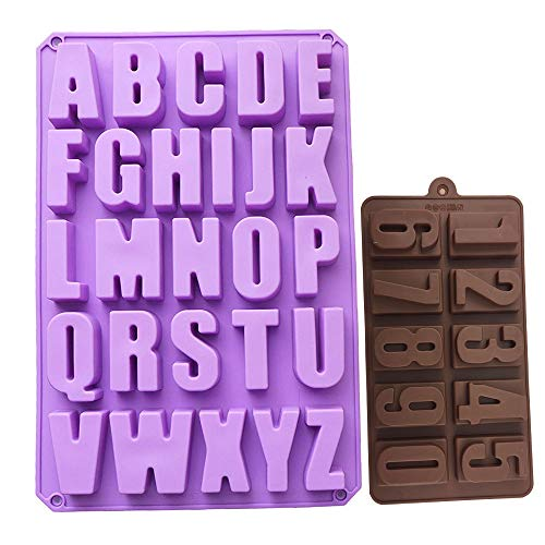 26 Cavities A-Z Alphabet Trays Mold and 0-9 Numbers Silicone Cake Baking Mold Cake Handmade Soap Moulds Biscuit Chocolate Jelly Ice Cube Tray DIY Mold (Random Color)