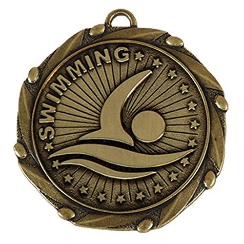 TPM Trading Goldmedaille mit rot-weiß-blauem Band, für Schwimmer, 4,5 cm, 10 Stück