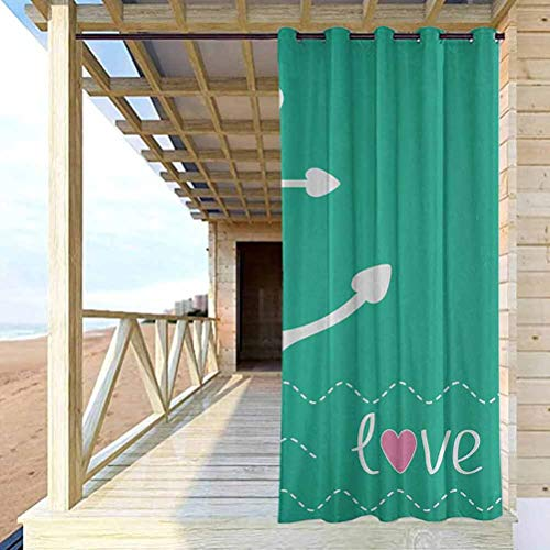 Anchor Quality Curtains for Pergola/Sunroom Anchor Heart Shapes and Wavy Lines on The Bottom Sailor Love Valentines Day Green Pink White