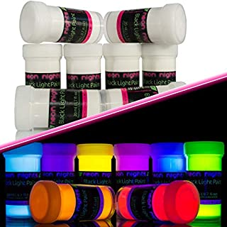 neon nights Invisible Ultraviolet | UV | Black Light | Fluorescent Glow Paint - Set of 8
