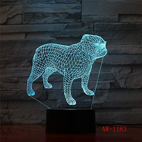 LIkaxyd 3D Optical Illusion Lamp Cute Dog 7 Color Changing Touch Table Desk Lamp for Kids Bedroom,USB Charger Pretty Cool Gifts for Birthday X-Mas Holiday Valentine's Day