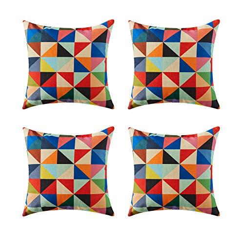 Topfinel geométrico Lino algodón Fundas Cojines para Cama Decorativos Almohadillas para Sillas Sofa Conjunto de 4,45 x 45cm,triángulo