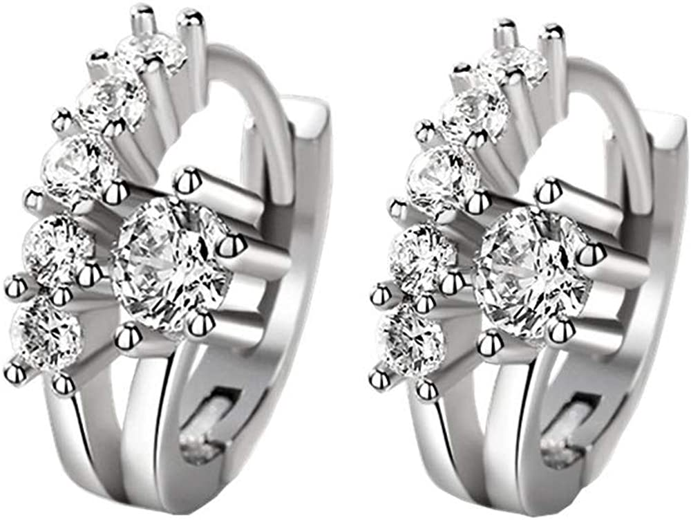 Worry-Free White Gold Plated Double Row Clear CZ Small Hoop Earrings