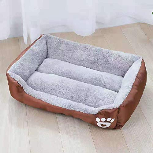 AOAPO Cojín para cama de perro para perro y gato, lavable, extra suave, cómodo y lindo cojín para cama de gato, para gatos y perros pequeños de tamaño mediano (color marrón)