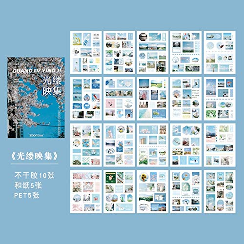 BLOUR 20 Piezas/Libro Serie Mundial en Miniatura Pegatinas Decorativas Scrapbooking Stick Etiqueta Diario álbum papelería Retro Revista Pegatina
