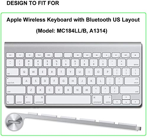 OJOS Ultra Thin Silicone Keyboard Protector Cover Skin for Apple Wireless Keyboard with Bluetooth MC184LL/B (Model: A1314, U.S Layout) (Not Fit iMac Magic Keyboard), Black