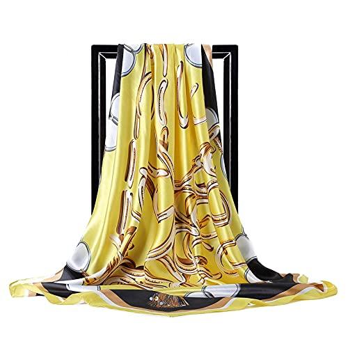 Bufandas cuadradas Toalla Cuadrada Grande para Mujer Gran Metal con Borla de Cabeza de Caballo Pañuelos Estampados para la Cabeza Femenina