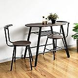 HOMYCASA Juego compacto de 3 piezas, mesa de comedor y sillas de cocina, juego de 2 con estante de almacenamiento, ahorro de espacio para espacios pequeños