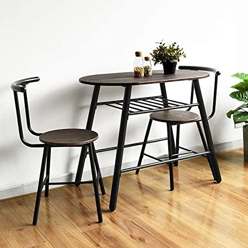 HOMYCASA Kompakt sats i 3 delar för kök, matbord och stolar, set med 2 stolar, utrymmesbesparande för små rum