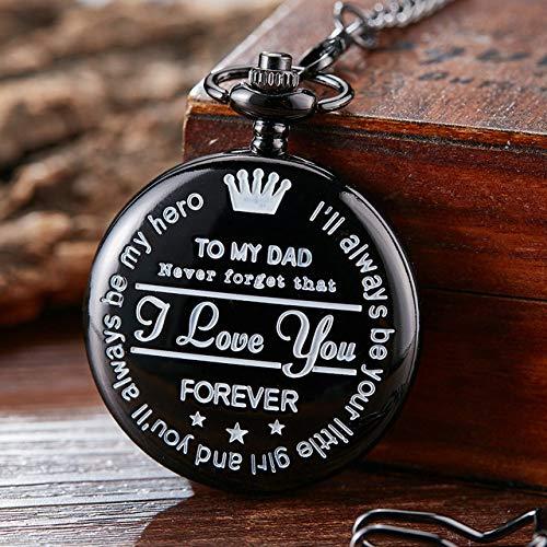 CAIDAI&YL Reloj de Bolsillo A MI PAPÁ TE Amo Reloj con Tapa de Cuarzo Grabado con láser para papá Cumpleaños Día del Padre Regalo Reloj de Cadena Fob Regalo