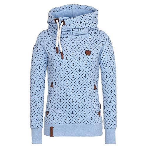 CHIYEEE Damen Lange Ärmel Hoodie Frauen Kapuzenpullover Pullover mit Kapuze Cross Over Kragen und Fleece Innenseite Blau XXL