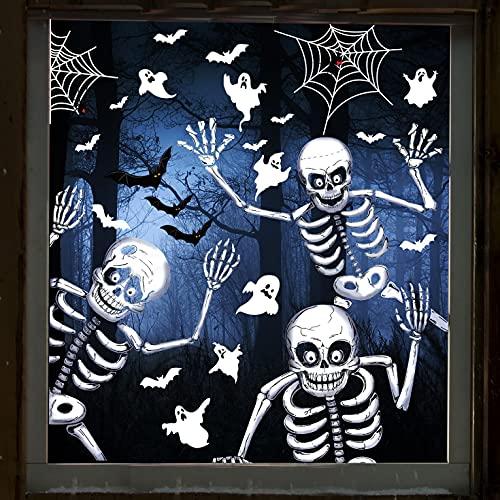 Vancavoo Pegatinas de Halloween de Doble Cara Para Ventanas Rejas de Ventana Puerta Cristal Pegatina Pared Decorativas Decoración Estática Esqueleto Araña Fantasma Murciélago Stickers (21*29.5cm)