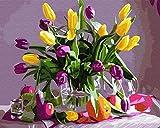 MYQF Cuadros para Pintar por Numeros Adultos, Flor de tulipán DIY Pintura por Lienzos para Pintar por Número De Kits Al Óleo Pintar con Pinceles y Pigmento acrílico,Regalo de cumpleaños,50x40 cm