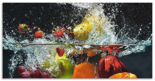 Artland Spritzschutz Küche aus Alu für Herd Spüle 120x60 cm Küchenrückwand mit Motiv Essen Obst Früchte unter Wasser Erbeeren Trauben Orange S6JP