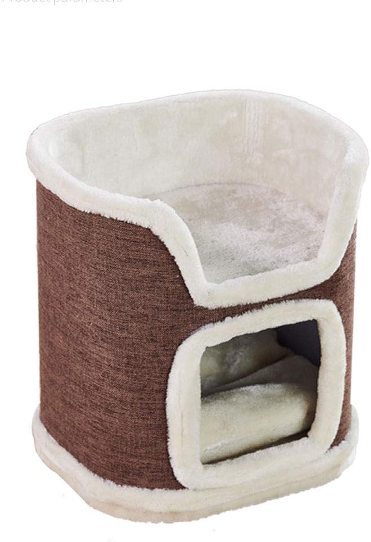 LZY pet bed Cat Litter, Kennel Winter Warm Villa Multilayer Pet Bed (color   Brown, Size   30x35x40cm)