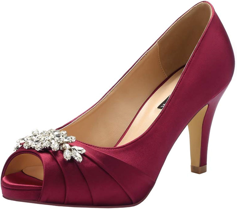 ERIJUNOR Peep Toe Mid Heels for Woman Rhinestones Satin Evening Prom Wedding shoes