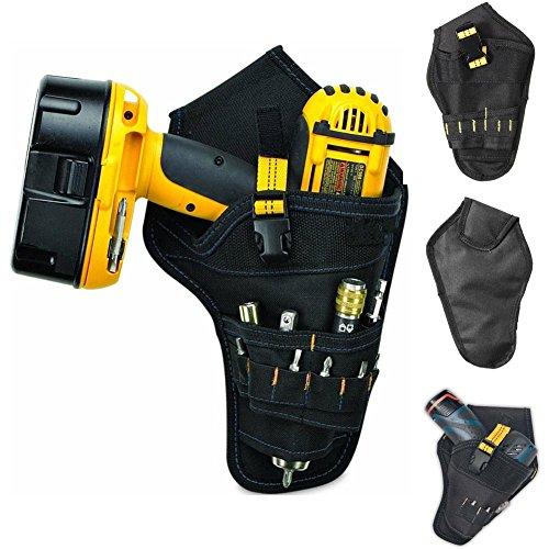 Klinkamz Heavy-Duty Drill Holster Tool Belt Pouch Bit Holder Hanging Waist Bag Drill Tool Storage Bags (Yellow)