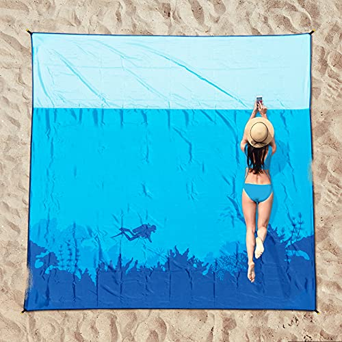 OCOOPA Beach Blanket Sandproof, Extra Large, Soft and Durable Meterial, Sand Free Waterproof, Light Weight and Portable, Perfect for Travel Camping, Beach Vocation