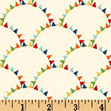 Michael Miller Mini Mikes Bunting Scallop Fabric by The Yard, Retro Black
