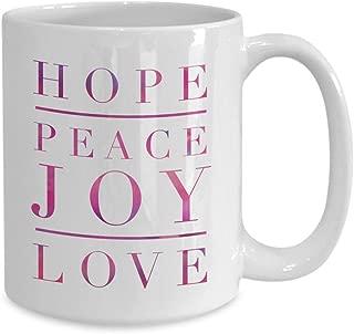 Advent Mug Hope Peace Joy Love coffee mug Advent gifts Christmas Mug Inspirational quote faith mug housewarming gift Christmas mugs