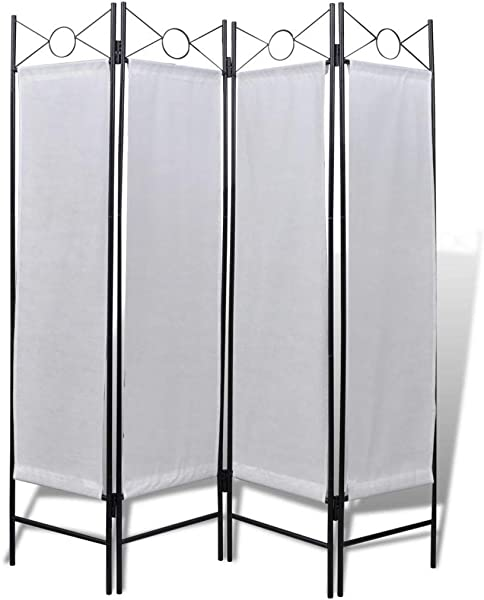 AYNEFY 4 Panel Room Divider Foldable Panel Privacy Folding Screen Room Dividers For Home White 5 2ft X 5 9ft
