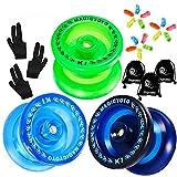 MAGICYOYO Pack of 3 Beginner Yoyos for Kids, K1-Plus Responsive YoYos with 3 Yoyo Gloves, 3 Yoyo Bags, 15 Strings, All in A Gift Box