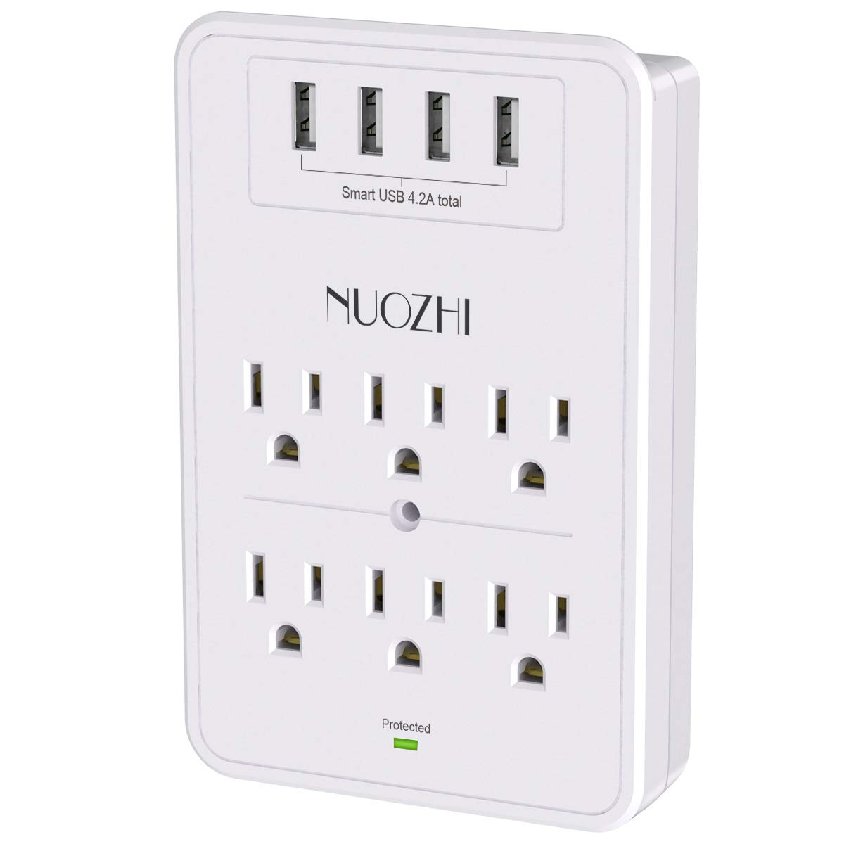 Multi Plug Outlet, Surge Protector, NUOZHI 6-Outlet Extender with USB Wall Charger and 4 USB Ports,1680 Joules, White, ETL Listed