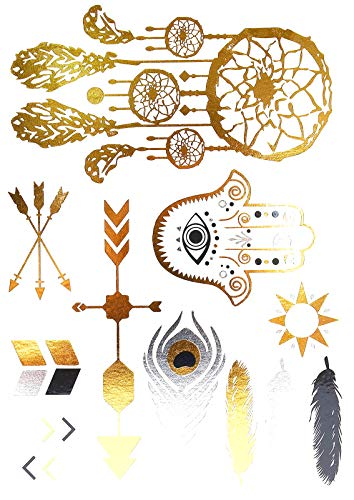 Oh My Shop - TAB38 - Planche Tattoo Tatouage Ephémère Body Art Symboles Ethnique - Argent/Or/Noir