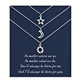 Sincere Best Friend Necklaces for 3 Sun Moon Star Dainty Layered Necklace for Women Teen Girls Friendship Back to School Gifts for 3 Girls Sisters Friends