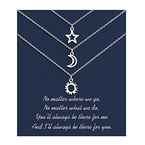 Sincere Best Friend Necklaces for 3 Sun Moon Star Dainty Layered Necklace for Women Teen Girls Friendship Graduation Gifts for 3 Girls Sisters Friends