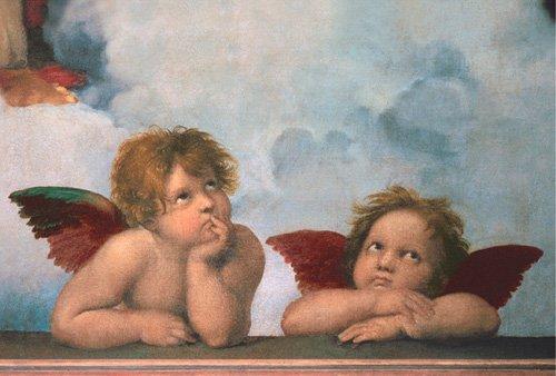 Raffaello Sanzio - Angels - Cherubini (Virgin Mary detail) - MAXI LAMINATED/ENCAPSULATED POSTER - Measures approx. 36 x 24 inches (91.5 x 61cm)