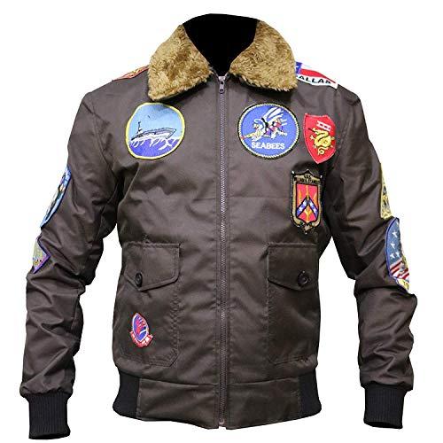 Tom Cruise Top Gun Jet Fighter Pilot Maverick Bomber Biker Cordura Jacket (Small (38-40) Best For Chest Size, Marrón)