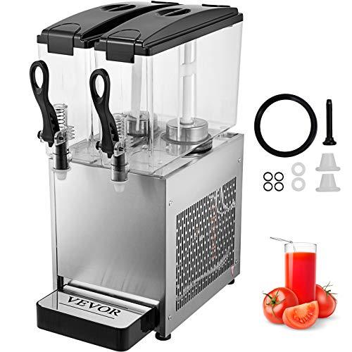 BuoQua 12L x 2 Tanks Getränkespender Schwarz Saftspender Edelstahl Kühlen oder Heizen Getränkespenderzapfen Trinkwasserspender für Kommerzielle oder zu Hause
