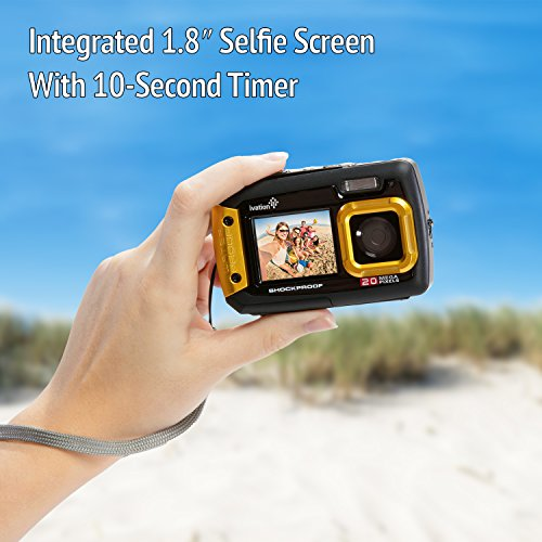 Ivation 20MP Underwater Waterproof Shockproof Digital Camera & Video Camera w/Dual Full-Color LCD Displays – Fully Submersible Up to 10 Feet (Yellow)