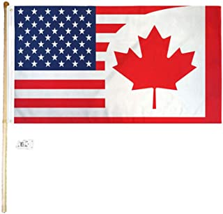 American Wholesale Superstore 3x5 3'x5' USA Canada Combination Polyester Flag with 5' (Foot) Flag Pole Kit with Wall Mount Bracket & Screws (Imported)