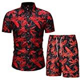 Men's Short Sleeve Tracksuit Floral Hawaiian Shirt and Shorts Suit Fashion 2 Piece Beach Outfits Sets (Red Leaf Print, x_l)