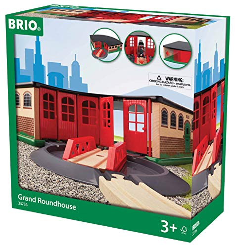 BRIO World Grand Roundhouse Train Garage for Kids Age 3 Years and Up, Compatible with all BRIO Train Sets