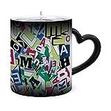 Fondo diseñado, letras cortadas de tazas morphing de 11 oz Taza sensible al calor Taza de té de café con cambio de color de cerámica ndash Modelo45359