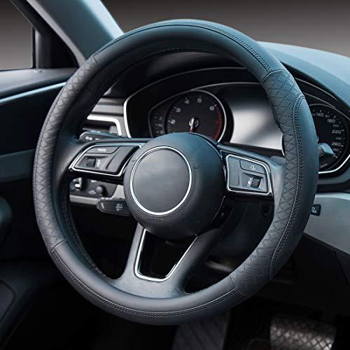 FLKYAJM Auto Lenkradhülle - Mikrofaser Leder Lenkradbezug - Universal Größe 37-38cm Anti Rutsch Lenkradabdeckung Lenkradschutz, Schwarz