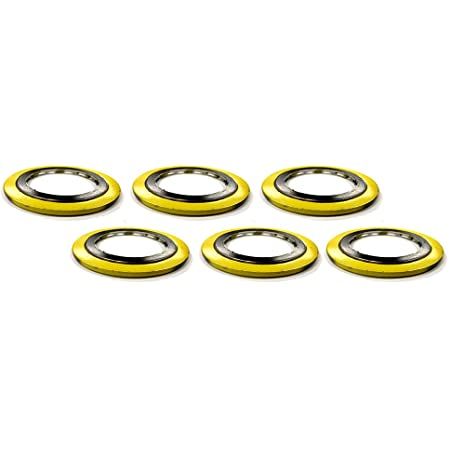 Pack of 12 Yellow With Grey Stripe for 8 Pipe Sterling Seal 90008304GR1500X12 304 Stainless Steel spiral Wound Gasket with Flexible Graphite Filler Pressure Class 1500#