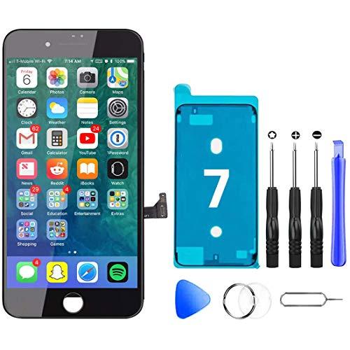 Hoonyer Écran iPhone 7 Noir Complet Remplacement de l'écran iPhone 7 LCD Tactile avec Kit Réparation iPhone 7