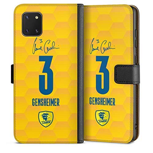 DeinDesign Klapphülle kompatibel mit Samsung Galaxy Note 10 lite Handyhülle aus Leder schwarz Flip Case Rhein-Neckar-Löwen Handball Gensheimer
