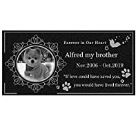 ペット墓石 メモリアルプレート オーダーメイド 大理石 写真 文字 犬 猫 通用 30*15cm (花, 30*15cm)