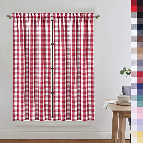 red and white window curtains - 8