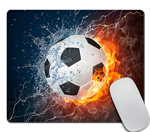 Amcove Flaming Soccer Fire and Water Mousepad Non-Slip Rubber Gaming Mouse Pad Rectangle Mouse Pads for Computers Laptop