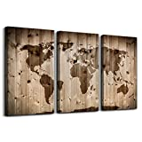 Canvas Prints Wall Decor for Living Room Office Wall Art 3 Pieces Vintage World Map Poster Printed Wood grain color Map Watercolor Printing Framed Hotel Ready to Hang Home decoration bedroom Artwork