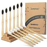 Cepillo Dientes Bambu, Cepillo de Carbón Bambú 12 Pack,Biodegradables Ecológicos y Embalaje Reciclable, 100% Libre de BPA