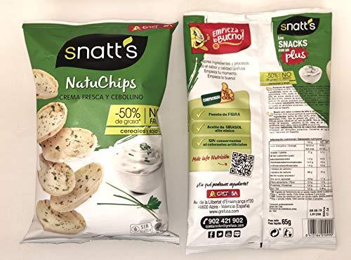Snatt's Natuchips con Crema Fresca y Cebollino GREFUSA Bolsa [Pack 12 x 65 g]